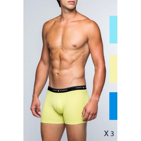 BOXERS marque PUNTO BLANCO modèle BASIX couleur BLEU ET JAUNE