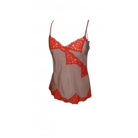 CARACO marque MARJOLAINE 100% SOIE modèle BELFAST couleur IMPRIME / FEU