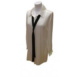 LIQUETTE marque MARJOLAINE 100% SOIE modèle BOSTON couleur CRAIE / NOIR