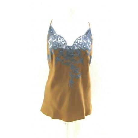CARACO marque MARJOLAINE 100% SOIE modèle EGERIE couleur NOISETTE / MINUIT