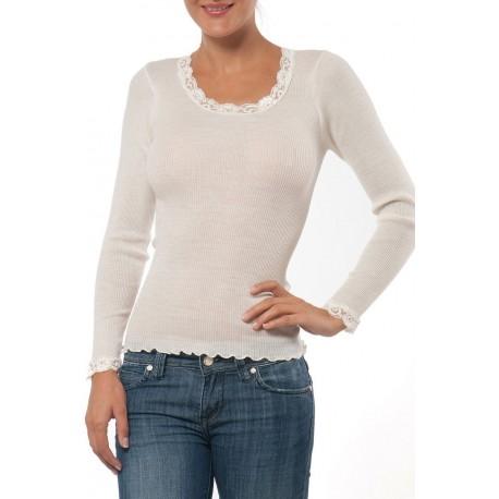 T-SHIRT MANCHE LONGUE marque BARBARA 90% LAINE 10% SOIE couleur IVOIRE