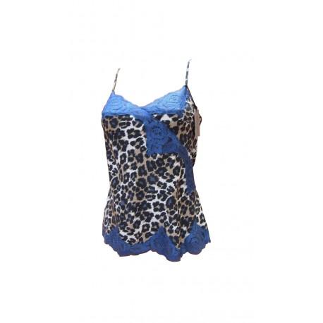 CARACO marque MARJOLAINE 100% SOIE modèle TRIBAL couleur PANTHERE / BLEU